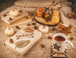 A table set for one with coffee or some magical elixir, on a knitted table cloth, with books to read and seasonal decorations that include small white pumpkins, pine cones and bright scented candles