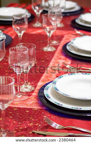 A table setting for celebration (christmas,new year,weddings)