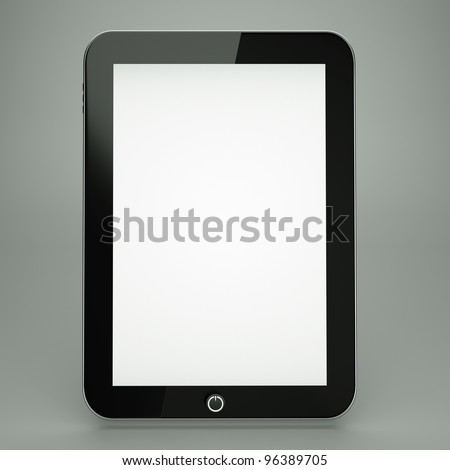 a tablet computer on grey,