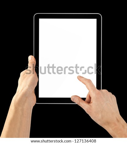 a tablet computer on the black background