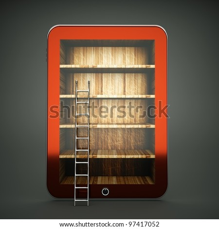 a tablet computer with wooden bookcase on screen
