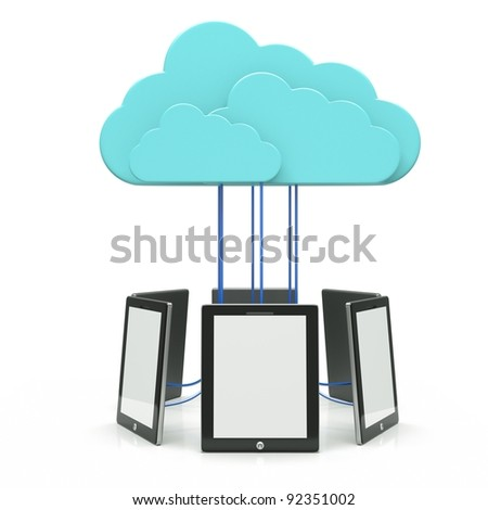 a tablet computers with blue clouds isolated on white, cloud computing
