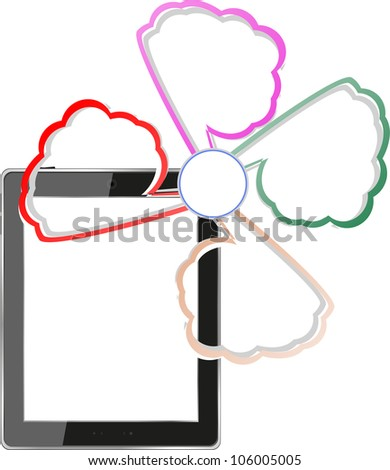 a tablet computers with empty clouds, cloud computing, tablet pc. Raster
