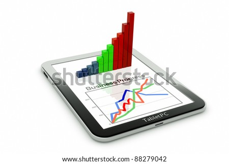 a tablet pc and business diagram as a concept of process of business development - stock photo