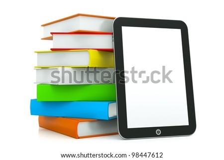 a tablet pc with books isolated on white as a education concept
