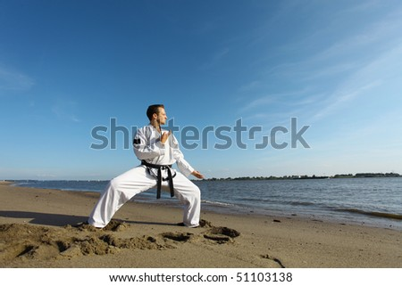 A taekwondo fighter doing his lessons at the beach