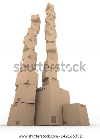 A tall tower of cardboard boxes
