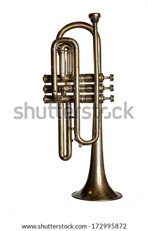 A tarnished silver cornet isolated on white #172995872
