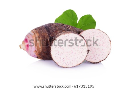 A taro and green leaf, sliced taro isolated on white background