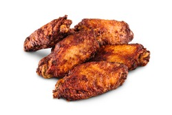 A tasty chicken wings on white background