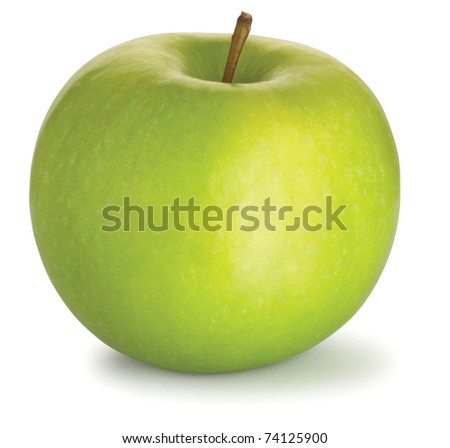 a tasty green apple isolated on a white background with clipping path