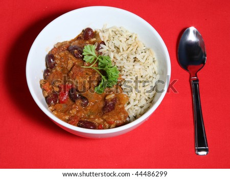 A tasty meal of Chilli con Carne served with Saffron rice