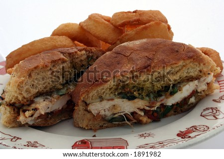 A tasty sandwich with onion rings