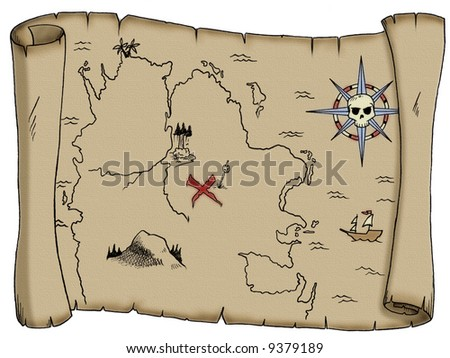 Pirate Map Symbols http://www.shutterstock.com/pic-9379189/stock-photo-a-tattered-blank-pirate-treasure-map.html