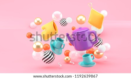 A tea set amid colorful balls on a pink background.-3d rendering.
