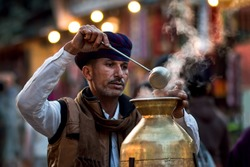 A tea vendor from Rajasthan, India