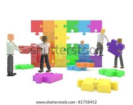 A team building a rainbow flag against a white isolated background