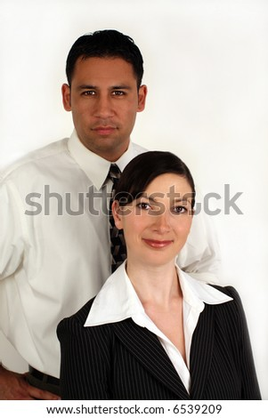 A team of a young businessman and woman