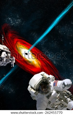 A team of astronauts performing work on a space station a safe distance from a large black hole. Elements of this image furnished by NASA.