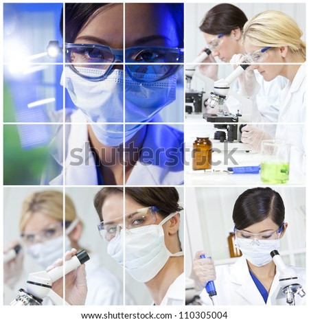 A team of female medical science researchers women in a laboratory, with microscopes