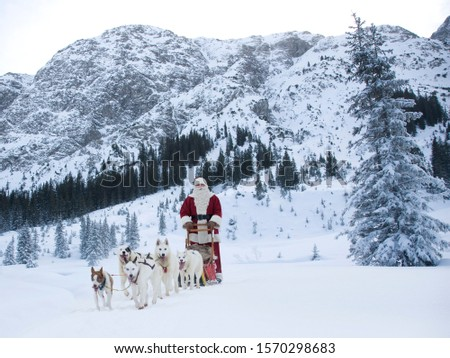A team of Husky dogs pulling Santa Claus and his sleigh