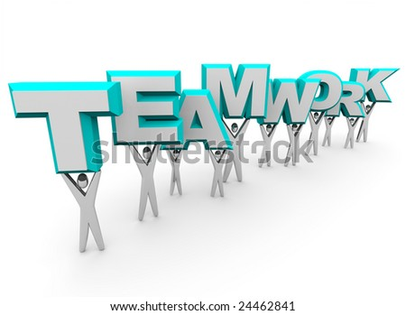 A team of people lift the word Teamwork - stock photo