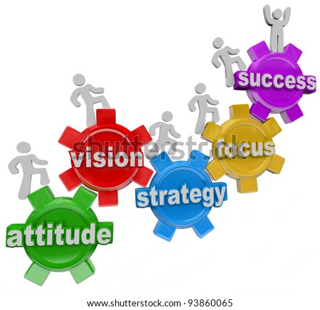 A team of people walking upward on connected gears with the words Attitude, Vision, Strategy, Focus and Success symbolizing the elements necessary to achieve a goal and be successful in business