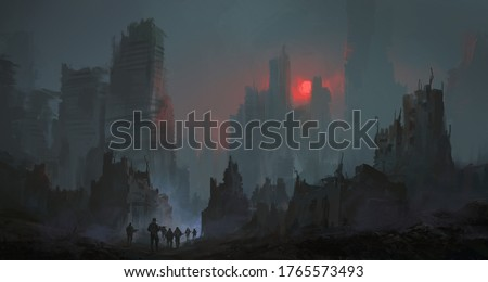 A team of soldiers walk in the city after the nuclear war, 3D illustration. Stockfoto ©