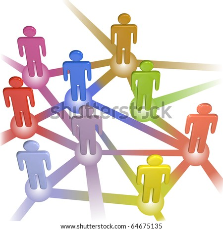 A team or company of stick figure symbol people connect in nodes of a social media or business network