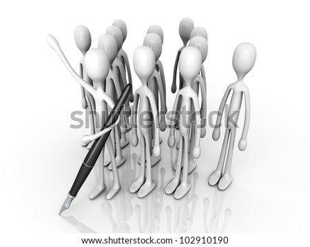 A Team welcoming you to sign up. 3D rendered illustration. Isolated on white.