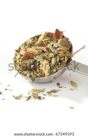 A teaspoon of fresh loose herbal tea