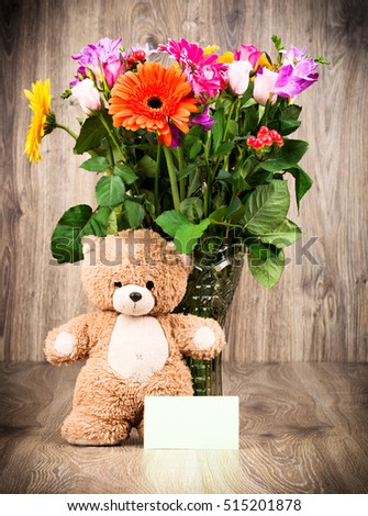 Free Photos Teddy Bear And Bright Flowers In The Vase On White