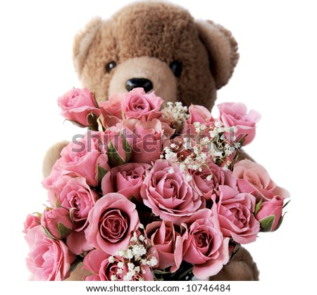 a teddy bear holds a bouquet of pink roses with baby's breath