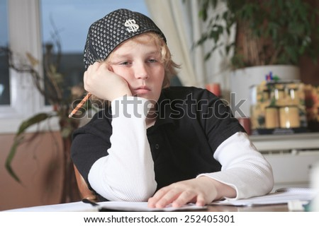 Adorable Boy Doing His Homework At Home Stock Footage Video