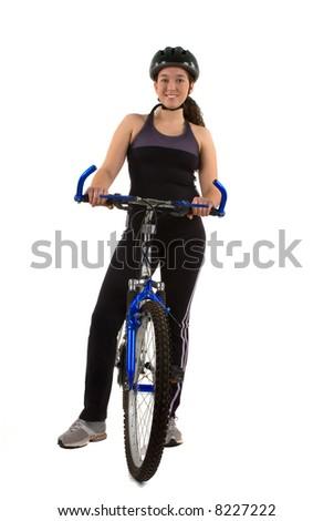 A teenage girl with her bike