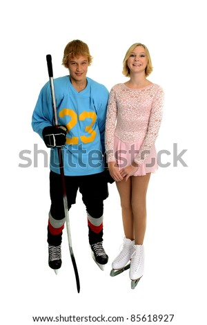 A teenage winter ice sport couple, hockey player and figure skater