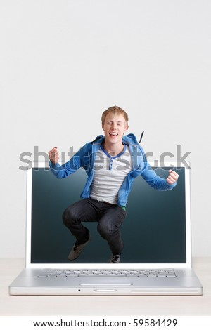 A teenager jumping off a screen