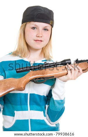 A teenager with a gun on a white background.