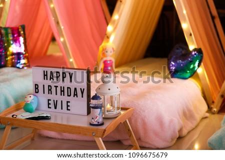 A teepee slumber party. Happy Birthday Evie.  Stock photo ©
