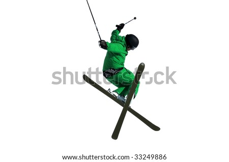 a Tele-hele. A skier executes a perfect crossed skis tele-heli during a high jump isolated on white background