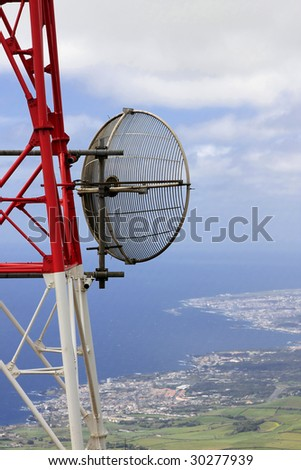 A telecommunication tower with the sea on the background (Azores)