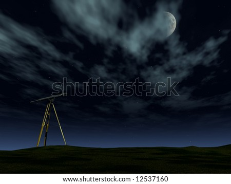 A telescope pointing at the stars and moon at night.