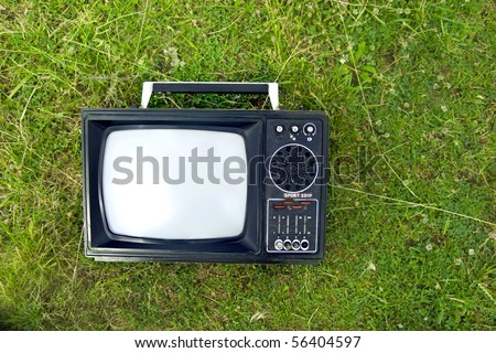 a television on grass