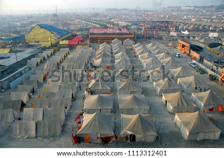 A Temporary city of tents build for the visitors and Hindu devotees for the Mahakumbh festival-2013 at Allahabad, UP, India.  #1113312401