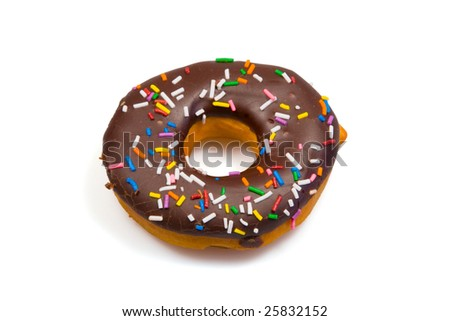A tempting donut with chocolate icing and colorful sprinkles, isolated on a pure white background.