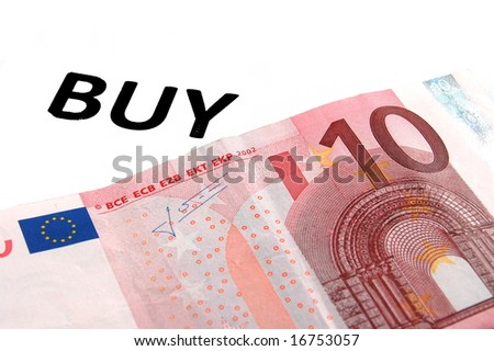 A ten euro banknote isolated on a white background