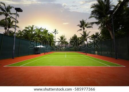 a tennis court, the Seychelles islands