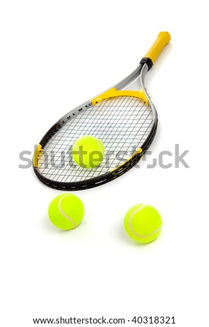 A tennis racket and three yellow balls on a white background