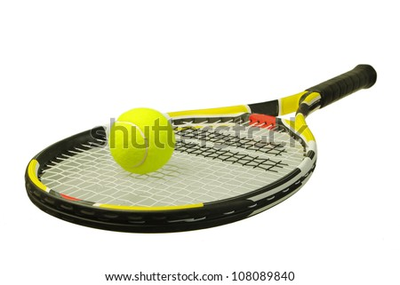 A tennis racket with  tennis ball on a white background