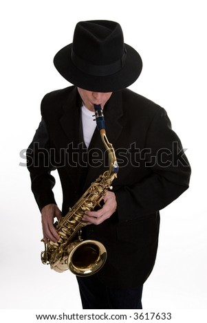 A Tenor Sax Player Dressed in Black